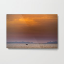 Yacht sailing towards Catalina Island Metal Print