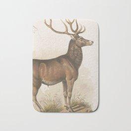Vintage Illustration of a Round Horned Elk (1872) Bath Mat