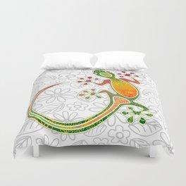 Gecko Floral Tribal Art Duvet Cover