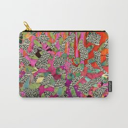 Hot Pink & Red Abstract Art Collage Carry-All Pouch