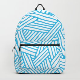 Abstract Teal & white Lines and Triangles Pattern - Mix and Match with Simplicity of Life Backpack