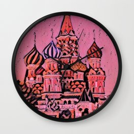 Russia Moscow Saint Basil's Cathedral Artistic Illustration Rough Surface Style Wall Clock