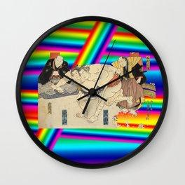 LGBT Sumo Wrestlers. Color Pride. Ukiyoe. Wall Clock