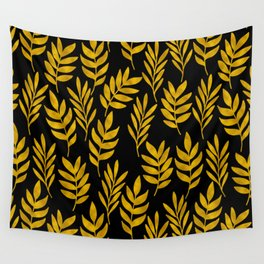 Golden leaf pattern Wall Tapestry