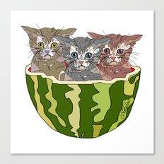 Watermelon Cats Canvas Print