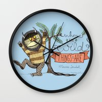 wild things Wall Clocks featuring Wild Things by Sofia Verger