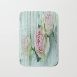 Shabby Chic Pink Roses On Blue Wood Bath Mat