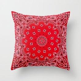 Paisley - Bandana Art - Red - Southwestern Throw Pillow