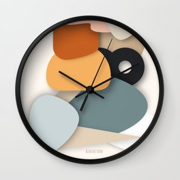 Color Palette, Home Decor, Abstract Shapes, living room wall, neutral colors Wall Clock