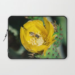 Wasp in Barbary fig flower Laptop Sleeve