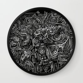 Street Graffiti Black and White Primitive Art Wall Clock