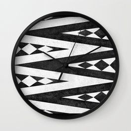 Tribal pattern in black and white. Wall Clock