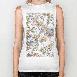 Vintage blush lavender brown teal blue roses floral Biker Tank