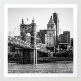 Classic Cincinnati Skyline - Black and White Square Format Art Print