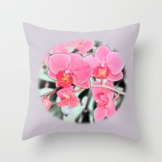 Lovely pink orchid flower color pencil sketch. floral photo art. Throw Pillow