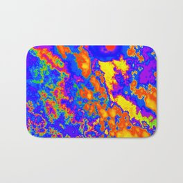 Cool Orange Yellow and Blue Lava Like Abstract Design (Clouds Series #2 - Abstract45) Bath Mat