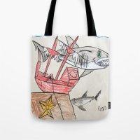 nursery Tote Bags featuring Shark Nursery by Ryan van Gogh