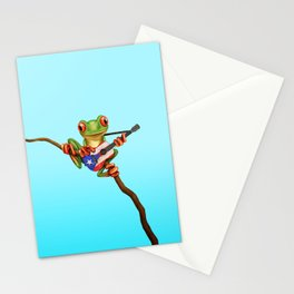 Tree Frog Playing Acoustic Guitar with Flag of Puerto Rico Stationery Cards