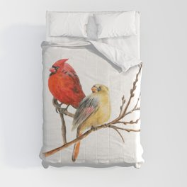 The Perfect Pair - Male and Female Cardinal by Teresa Thompson Comforters