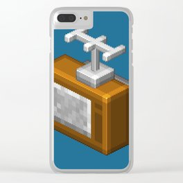 Retro TV television pixel art Clear iPhone Case