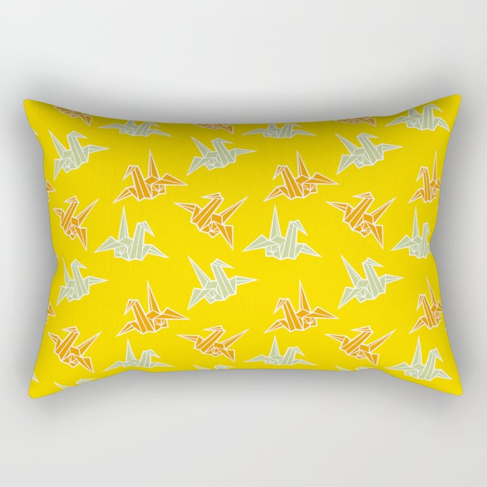 Yellow Origami Crane Japanese Kimono Pattern Rectangular Pillow