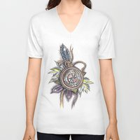 compass V-neck T-shirts featuring Compass by byfgal