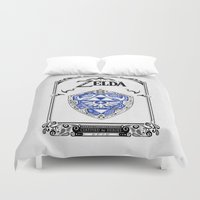 zelda Duvet Covers featuring Zelda legend - Hylian shield by Art & Be
