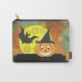 Funny laughing pumpkin head with bat and moon Carry-All Pouch
