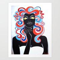 "Black Light Beauties Series - ""Miss America"" Art Print"