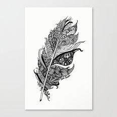 Feather Black and White 3 feathers Bird birds Zen Canvas Print