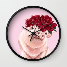 Baby Pig with Rose Flower Crown in Pink Wall Clock