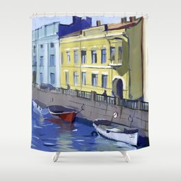 Cityscape of the embankment of the pavement with the river channel. Shower Curtain