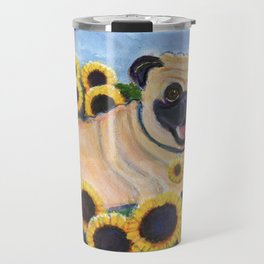 Pug in Sunflowers Travel Mug