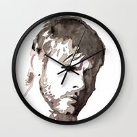 charlie brown Wall Clocks featuring Charlie Watercolour by Sophie Brown Art
