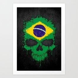Flag of Brazil on a Chaotic Splatter Skull Art Print