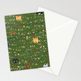 Naughty Christmas Cats In Tree Stationery Cards