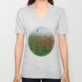 A Day of Forest(8). (coniferous forest) Unisex V-Neck