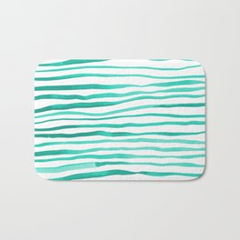 Irregular watercolor lines - turquoise Bath Mat
