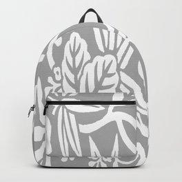 Gray Japanese Leaf Pattern Backpack