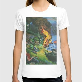 St. Hansbal Midsummer Eve Bonfire on Alpine Lake landscape painting by Nikolai Astrup T-shirt