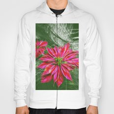 Abstract vibrant red poinsettia on green texture Hoody