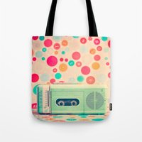 radio Tote Bags featuring Radio Dots  by Caroline Mint
