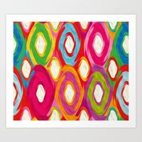 ikat Art Prints featuring Ikat by Helene Michau