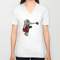 boxing V-neck T-shirts featuring Boxing Elephant by Adam Metzner
