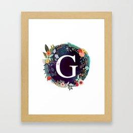 Personalized Monogram Initial Letter G Floral Wreath Artwork Framed Art Print
