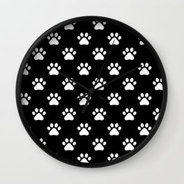 paw print black and white pattern Wall Clock
