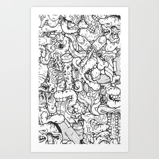Alphabetcha Collage b&w Art Print