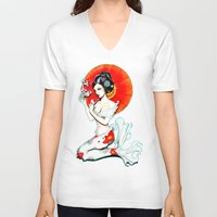 koi V-neck T-shirts featuring Koi by Isobel Von Finklestein