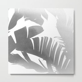 Black and White Tropical Banana Leaves In The Fog Design Metal Print