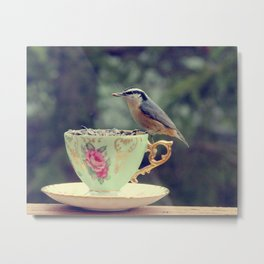 Nuthatch With Your Tea Metal Print